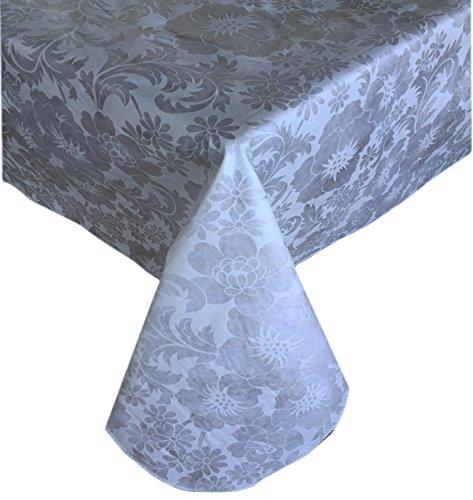 Queen Anne Damask Print Indoor/Outdoor Flannel Backed Vinyl Tablecloth, 52