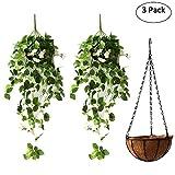 Artificial Fake Hanging Basket Decorative Plant, High Simulation Rose Wall Hanging Balcony Decor Artificial Flower Vine Pot Bonsai Set White