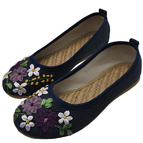 Purple Old Flat Kenavinca Linen Feminino Cotton On Sapato Fabric Embroidered Ballerina Slip Comfortable Flower Vintage 4 Shoes Flats 6 Peking Women F6gPFSqH