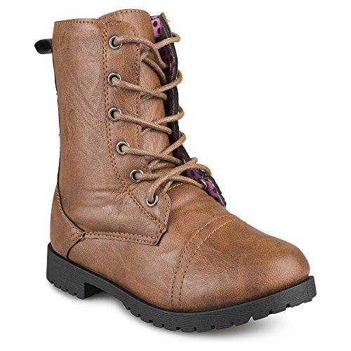 Brown Combat Boots For Girls (Chillipop Combat Boots for Girls with Printed Lining, Brown)