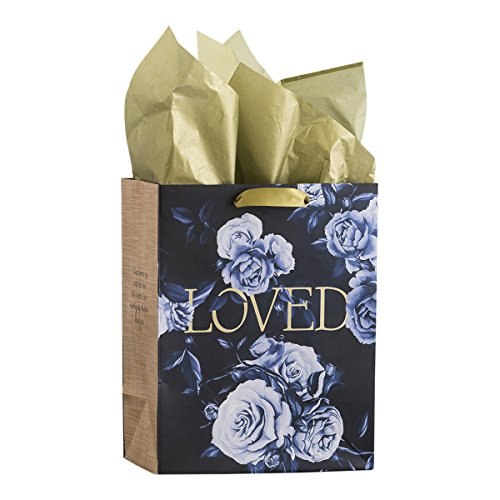 DaySpring Medium Specialty Gift Bag - Elegant Flowers Loved - Timeless Collection (71404)