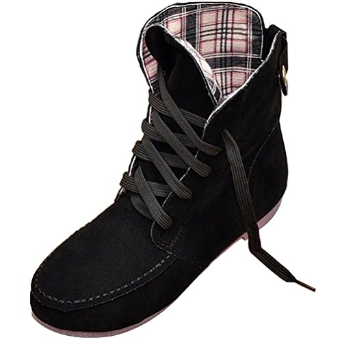 Maybest Women Autumn Casual Fashion Solid Color Flat Shoes Lace Up Ancke Round Toe Flat Leather Martin Boots Black Plaid 10 B (M) US (Leather Fine Boot Flat)