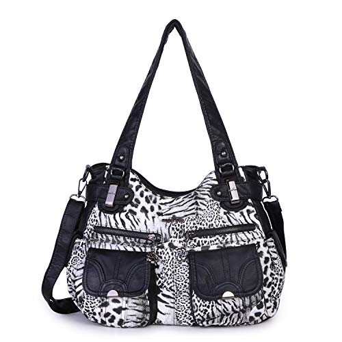 Angelkiss Women's Designer Handbag Large Double Zipper Multi Pocket Washed, Black- Leopard