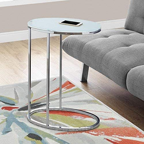 Monarch Specialties Oval Chrome Frosted Tempered Glass Accent Table, 19 L x 12 D x 24 H, Silver