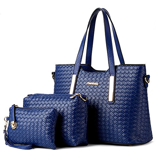 Leatherette Womens Tote Bag - Vincico Women 3 Piece Tote Bag Pu Leather Weave Handbag Shoulder Purse Bags (Blue)