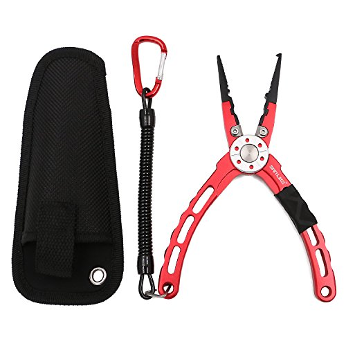 SANLIKE Fishing Pliers with Lanyard - Multipurpose Non-Slip Fishing Pliers Fish Hook Remover with Sheath and Coiled Lanyard Split Ring Tool/Aluminum Lightweight Fishing Gripper