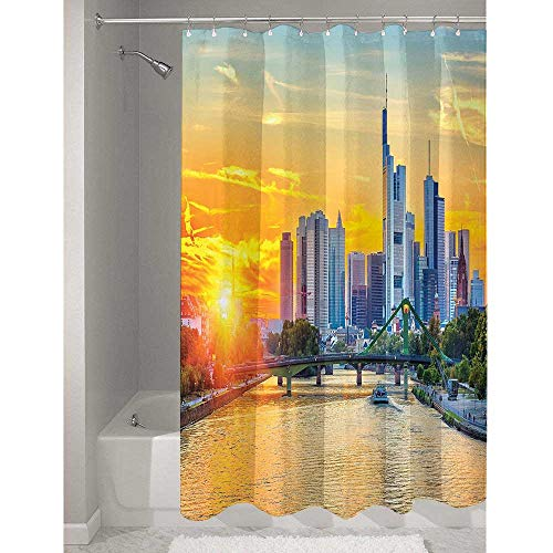 DouglasHill Wanderlust Durable Polyester Shower Curtain Frankfurt Sunset Architecture Landmark Skyscraper Vibrant Colors Waterfront Add to Your Bathroom W79 x L72 Inch Marigold Blue (Gucci Frankfurt)
