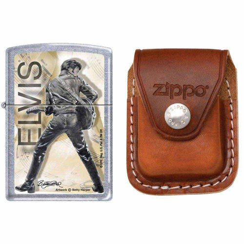 Zippo 0342 Classic Elvis Presley Street Chrome Finish Windproof Pocket Lighter with Zippo Brown Leather Clip Pouch (Presley Brown Leather)