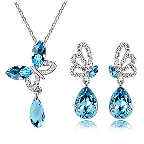 (MAFMO Women Butterfly Jewelry Set Necklace Earrings Fashion Crystal Wedding Jewelry (Light Blue))
