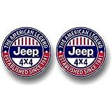 "2 Jeep American Legend Vinyl FULL COLOR 4"" Jeep Wrangler Decals CJ TJ Stickers"