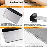 Dough Blender | Stainless Steel Pastry Cutter Set, Pastry Blender + Dough Scraper + Pastry Brush, Professional Dough Cutter/Blender Scraper/Pastry Brush Set for Kitchen Baking Tools 11 THE STAINLESS STEEL DOUGH BLENDER: The pastry blender will NOT break, bend or rust. Sturdy and durable metal blades will make you amazed at how quickly this pastry tool works to get uniform pieces of butter mixed in flour. This dough cutter can not only chop fruit and soft vegetables or nuts, but also mash up baby food, make salsa, guacamole and muffin topping etc..Comfortable soft grip handle won't make you tired after using it. It is much safer than plastic and easy on those with arthritis. BENCH SCRAPER OF PASTRY SET: Together with the dough blender, dough scraper make baking get easier. The dough blender expertly combines your ingredients while the bench scraper helps you scrape, measure, cut and even transfer dough. They are the perfect pair. The pastry cutter is useful to cut even brownies, cut dough for pastries/cinnamon rolls/dinner rolls/pizza/pasta and cookies, scoop up chopped vegetables or herbs to transfer to a pot, clean counters of crumbs and dried dough. PASTRY BRUSH: Made of 100% FDA approved Stainless Steel and Silicon. 100% Bristle-free. Heat resistant up to 500⁰F. Long enough to avoid burns from hot oil during on barbecue. Good choice for toast, jam, honey, pastry, condensed milk, breakfast, birthday party, outdoor BBQ grill, roast. This basting brush will not melt, warp, discolor, or shrink like regular plastic or wooden brushes. The bristles will not break or shed in your food like old brushes. Safe and durable.