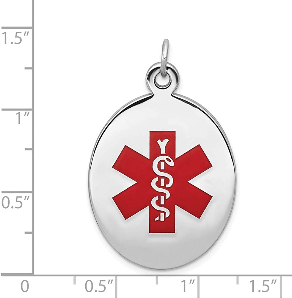 925 Sterling Silver Rhodium Plated Medical Jewelry Pendant