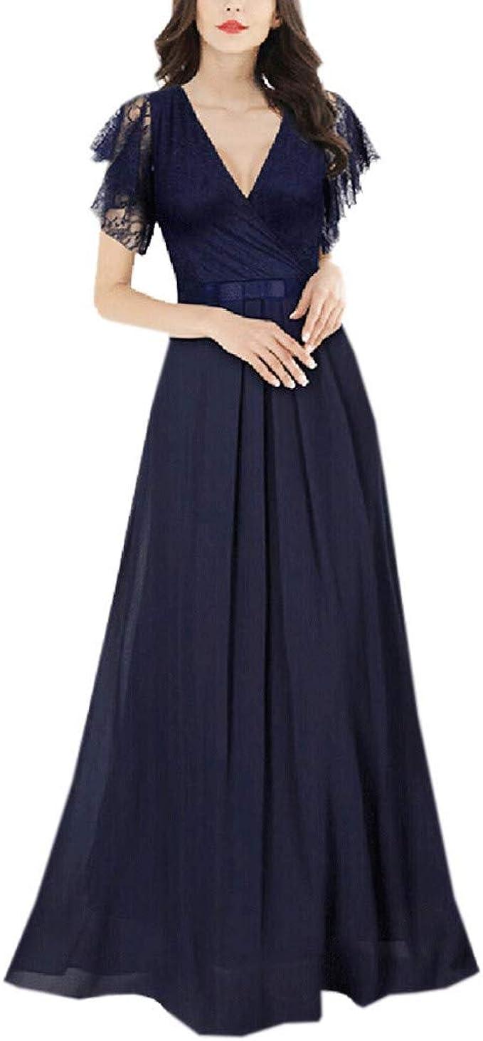 Femme Dentelle Longue Formal soirée fête robes Cocktail bal de promo maxi S ~ 2xl