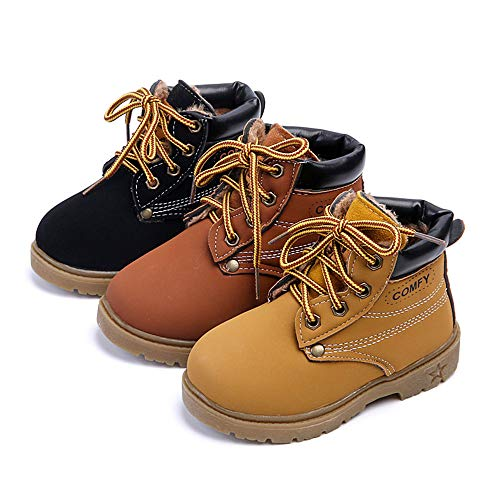 YISUGAR Kids Waterproof Shoes Lace-Up Ankle Boots Boy Girl Outdoor Workboots Winter Warm Martin Boots