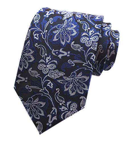 - Royal Blue Silver Silk Tie Formal Designer Necktie for Men BF Father's Day Gifts