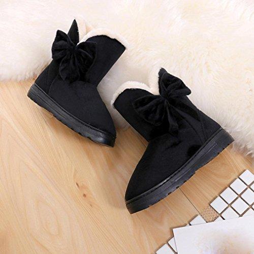 Boots Women Flats Winter HCFKJ Black Warm For Women Shoes Autumn Ladies Girls Teen Cute Bowknot Snow Shoes q0RRU8