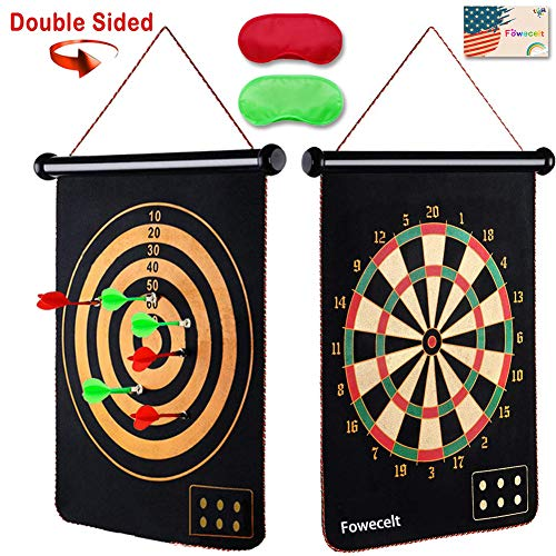 Safety Magnetic Dart Board for Kids Teens, Indoor Outdoor Double Sided Dartboard Bullseye Games Set for Boys Teenager Adults Family Carnival Birthday Party Games Leisure Sports (Cinco De Mayo Games And Activities For Adults)