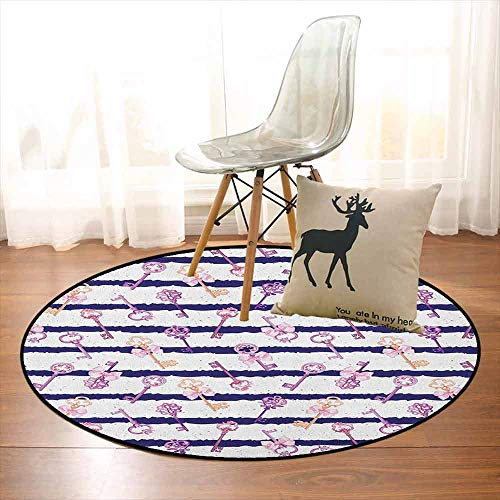 (Girls Non-Slip Absorbent Carpet Old Medieval Vintage Keys with Ribbons and Diamonds Striped Pattern in French Style for Floor Carpets D35.4 Inch Purple Blue)
