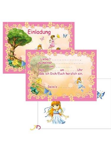 6 Einladungskarten A 6 Feen mit Umschlag