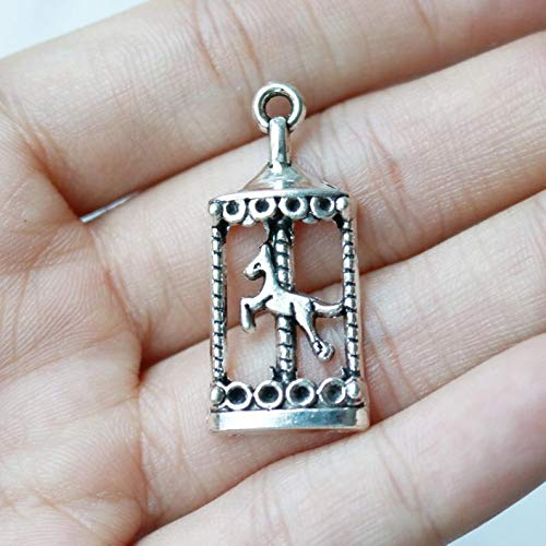 Jewelry Making Made Easy Set of 5, Horse Carousel Charm, Horse Charm, Cute Charm, Carousel Charm, Silver Charm, Circus Charm, Antique Silver,