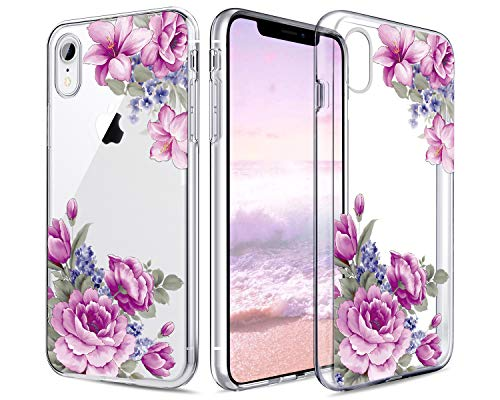 Lontect Compatible iPhone Xr Case Slim Bumper Cushion Clear Floral Soft Flexible TPU Back Cover Transparent Scratch Resistant for Apple iPhone Xr 2018 6.1