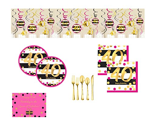 40th Birthday Party Supplies Pack for 16 Guests, Includes Hanging Swirl Decor, Plates, Napkins, Premium Gold Cutlery and Birthday Card