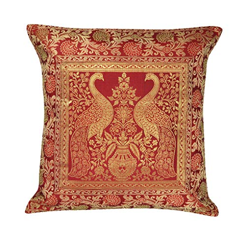 - Ethnic Indian Handmade Decorative Silk Brocade Traditional Peacock Design Living Room Decor Cushion Cover Vintage Pillowcases Hand Embroidered Indian Boho Chic Bohemian Sofa Pillow Throw 17x17