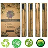 Wood Toothbrush Bamboo | Vegan Charcoal Soft bristles for Sensitive Gums | Organic Biodegradable Wooden BPA Free for Adult & Kids | Eco-Friendly Recycle Natural toothbrushes Set 4 Pack Wow