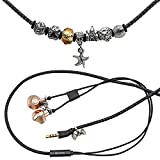 URIZONS Stereo Earphones, Headphones, Headset With Microphone and Remote for iPhone, iPad, Mac, Laptop Tablets and Android Devices Wearable Pandora Beads Bracelet Style (Lock-R) (Black, Seafish)