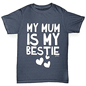 Twisted Envy Boy's My Mum Is My Bestie Cotton T-Shirt, Comfortable and Soft Classic Tee with Unique Design Age 9-11 Dark Grey