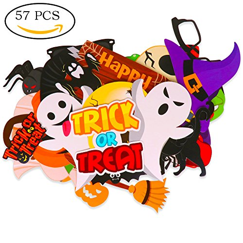 KEIYO Halloween Series Photo Booth Props - Pack of 57 PCS - DIY Card Stock with Hardwood Stick Photo Props for Party Fun Favor