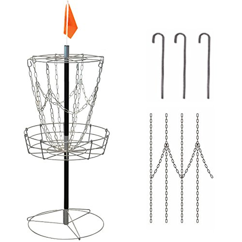 Brown bear Lightweight Steel 8-chain Portable Disc Golf Basket Target(pack of 1) [Instruction Included]