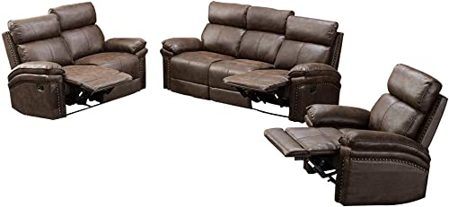 Romatlink Leather Sofa Recliner Sofa Sofa Set 3 Piece Chair Bonded Leather Living Room Furniture Gold Stamping Fabric Tufted Cushions with 3-Seat Sofa, Loveseat and Recliner Chair