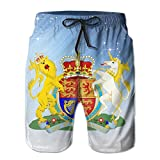 Qinf New Cartoon Fashion Majesty's Government Coat Of Arms Men's Beach Pants Casual Shorts For Man