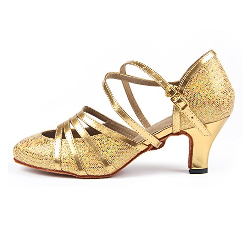 Ballroom Gold Latin Social Sandals 6cm Dancing Shoes High Party Syrads Women's Heel Dancing Tango Shoes Waltz Salsa Dance Heel Indoor 5TzBwx