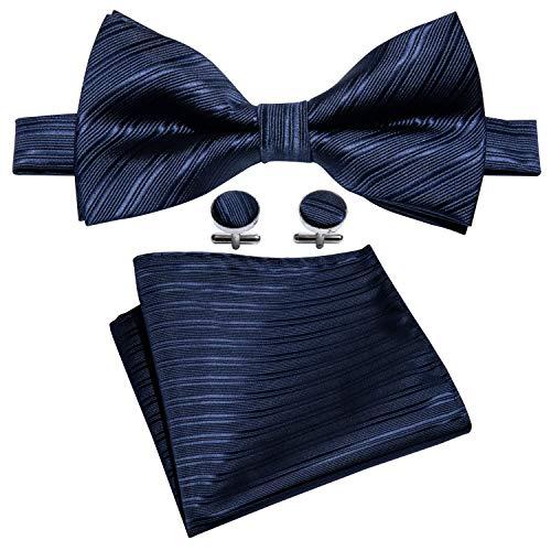 Barry.Wang Mens Blue Silk Bow Tie Pocket Square Paisley Bowtie Cufflinks Mens Necktie Set