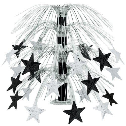 Beistle 1-Pack Star Cascade Centerpiece, 18-Inch, Black and Silver ()