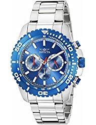 Invicta 19843 Mens Pro Diver Blue Dial Stainless Steel Bracelet Chronograph Watch