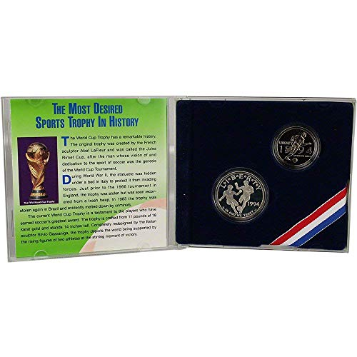 1994 P&S US Mint World Cup Special Edition Commemorative Set with Silver Dollar and Half Dollar Collector's Set $1 Proof OGP