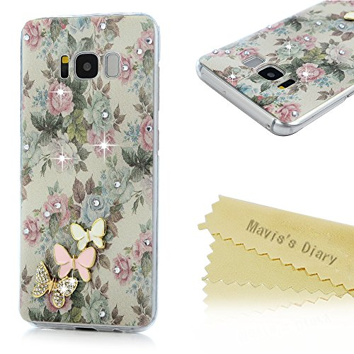 S8 Case,Mavis's Diary Luxury 3D Handmade Bling Sparkle Crystal Rhinestone Diamonds Pink Blue Butterfly Floral Flowers Fashion Design Full Edge Protect…