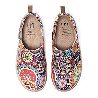 UIN Women's Blossom Painted Fashion Sneaker Canvas Slip-On Travel Shoes (6.5)