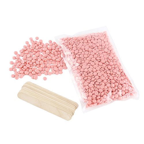 Homyl Natural 500g Hot Film Hard Wax Beans Hair Removal Beads with 10pcs Applicators Sticks Kit - Scent Lavender Chocolate Cream Rose Tea Tree Honey Aloe Strawberry Chamomile - Rose