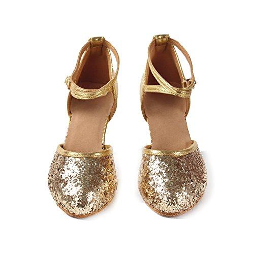 Modell Damen Ausgestelltes Latein amp; YKXLM Ballsaal DEWXCL 2 Standard Schuhe Gold Dance Mädchen Tanzschuhe 1wwfqvd