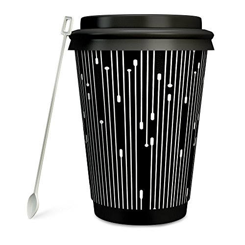#1 Modern Disposable Coffee Cups with Lids and Stirrers (50 pack) - 12 oz Double Wall Insulated Hot Paper Cups with Accessories - Stylish Beverage Cups for Hot Cold Drinks (Paddle Art Design, 12 oz) (Wood Processor)