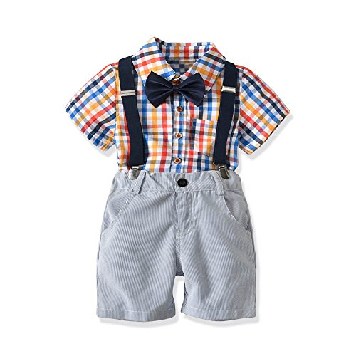 Lurryly 4Pcs Boys Gentleman Bowtie Plaid Short Sleeve Shirt+Suspenders Short 1-6 T by Lurryly