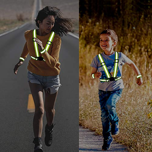 Reflective Vest, 2 Pack Safety Reflective Running Vests with 4 Safety Reflector Band Tape, Adjustable Reflective Safety Vests for Night Running Walking Cycling Motorcycle Jogging Working