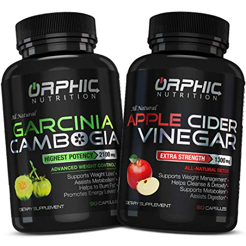 Garcinia Cambogia Extract 2100 MG & Apple Cider Vinegar 1300mg(90 + 60 Pills) – Appetite Suppressant & Carb Blocker…