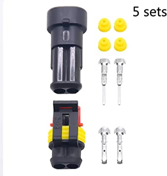 2Pack 3 Pin Waterproof Electrical Wire Superseal Connector Kit Plug
