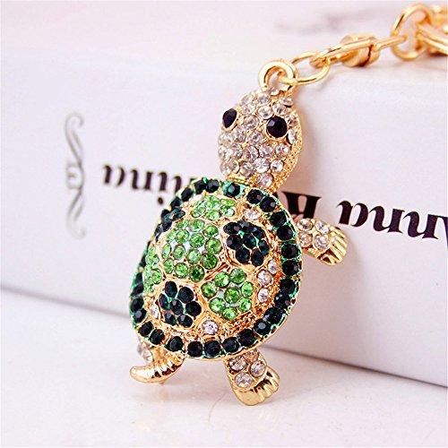 Cute Mini Turtle Sparkling Charm Blingbling Keychain Crystal Rhinestones Pendant (Green)