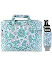 MOSISO Laptop Shoulder Bag Compatible with 2019 MacBook Pro 16 inch A2141, 15-15.6 inch MacBook Pro 2012-2019, Notebook Computer, Canvas Mandala Pattern Carrying Briefcase Sleeve, Mint Green&Blue